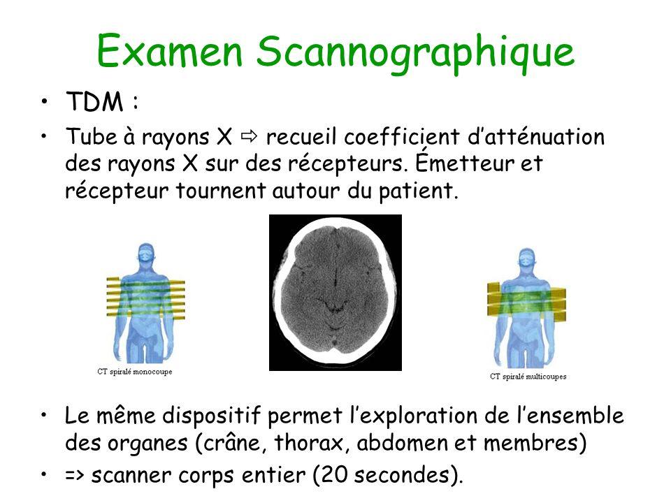 Examen Scannographique TDM : Tube à rayons X recueil coefficient datténuation des rayons X sur des récepteurs. Émetteur et récepteur tournent autour d