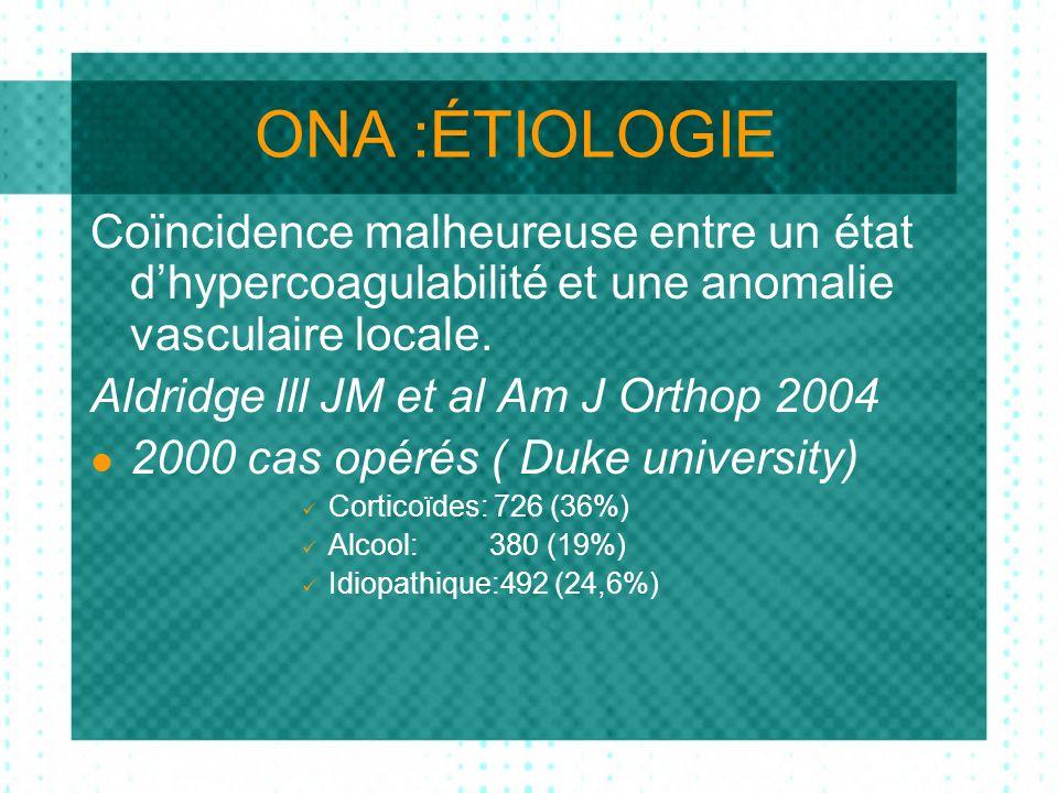 ONA :ÉTIOLOGIE Coïncidence malheureuse entre un état dhypercoagulabilité et une anomalie vasculaire locale.