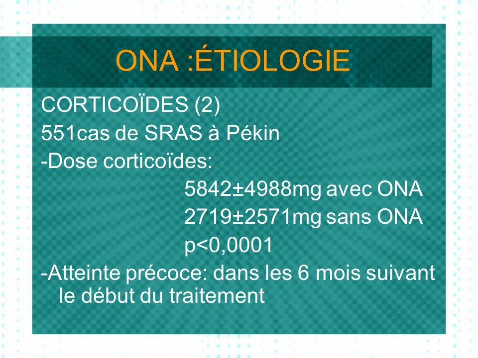 ONA :ÉTIOLOGIE CORTICOÏDES (2) 551cas de SRAS à Pékin -Dose corticoïdes: 5842±4988mg avec ONA 2719±2571mg sans ONA p<0,0001 -Atteinte précoce: dans les 6 mois suivant le début du traitement