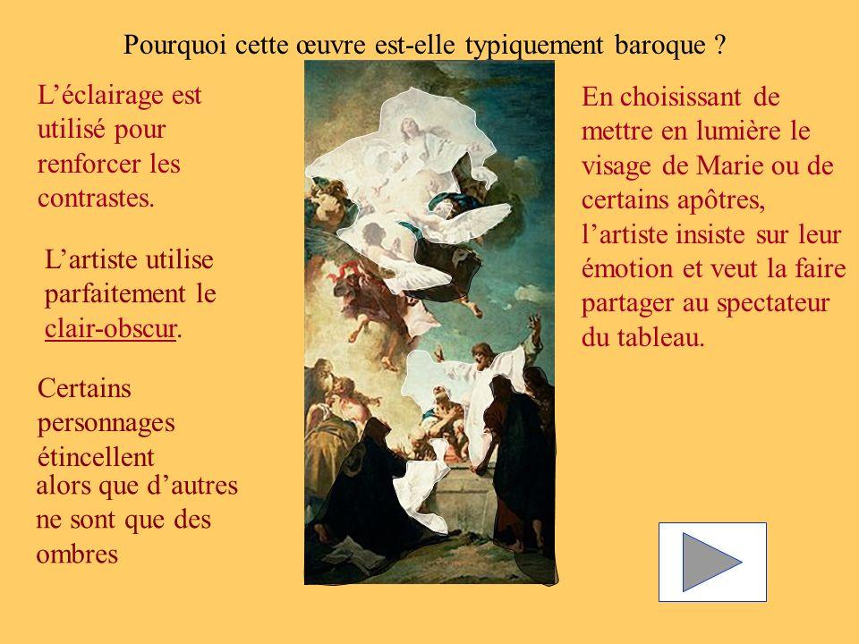 Pourquoi cette œuvre est-elle typiquement baroque ? Léclairage est utilisé pour renforcer les contrastes. En choisissant de mettre en lumière le visag