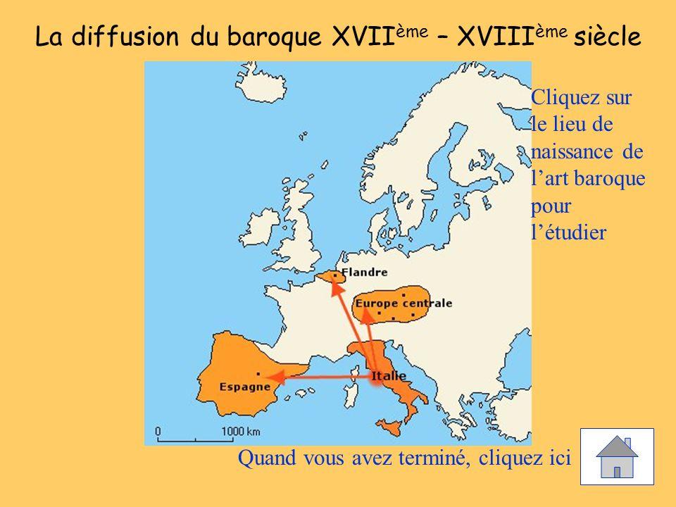 La diffusion du baroque XVII ème – XVIII ème siècle Cliquez sur le lieu de naissance de lart baroque pour létudier Quand vous avez terminé, cliquez ic