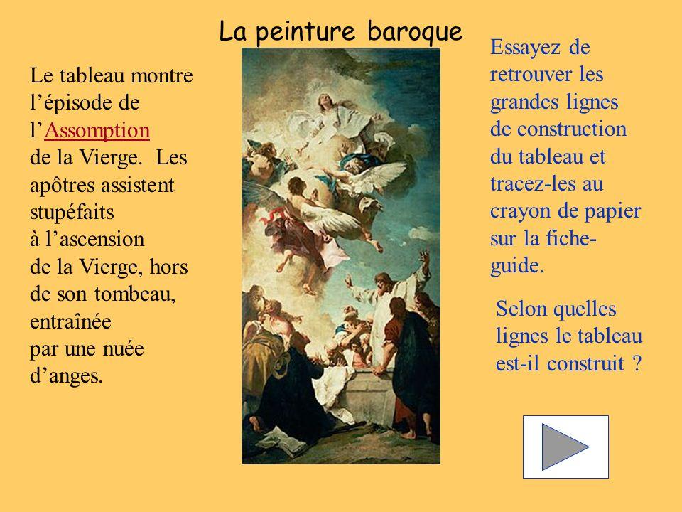 La peinture baroque Essayez de retrouver les grandes lignes de construction du tableau et tracez-les au crayon de papier sur la fiche- guide. Selon qu