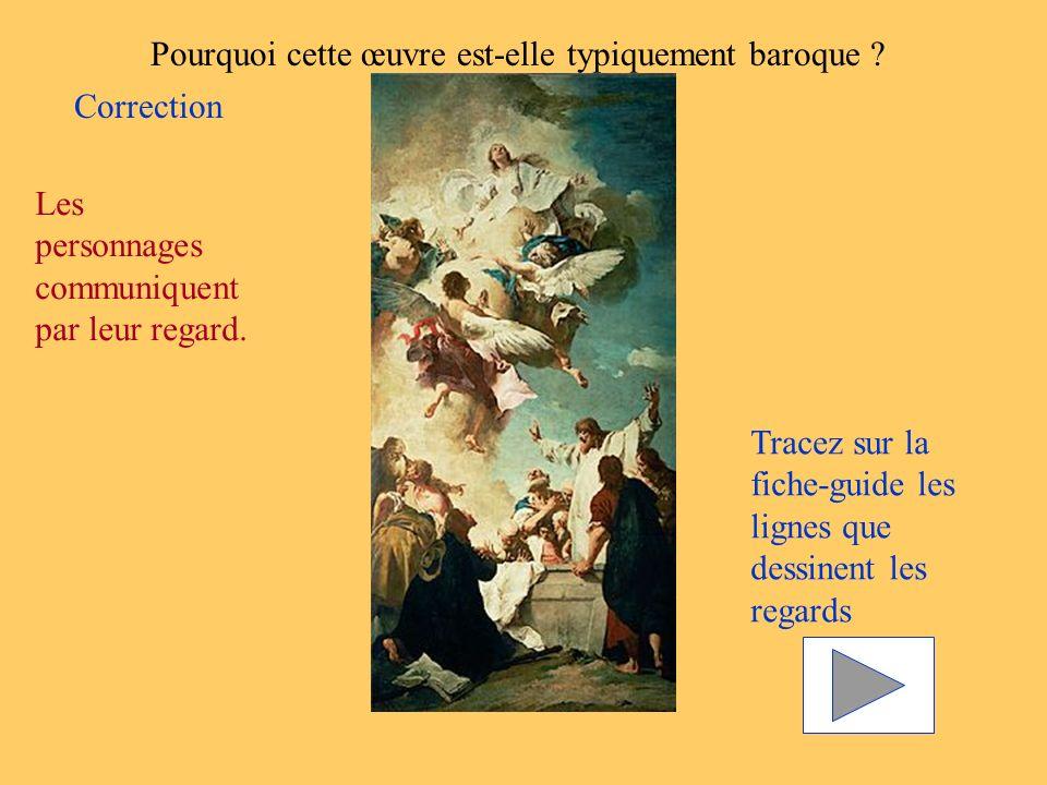 Pourquoi cette œuvre est-elle typiquement baroque ? Les personnages communiquent par leur regard. Tracez sur la fiche-guide les lignes que dessinent l