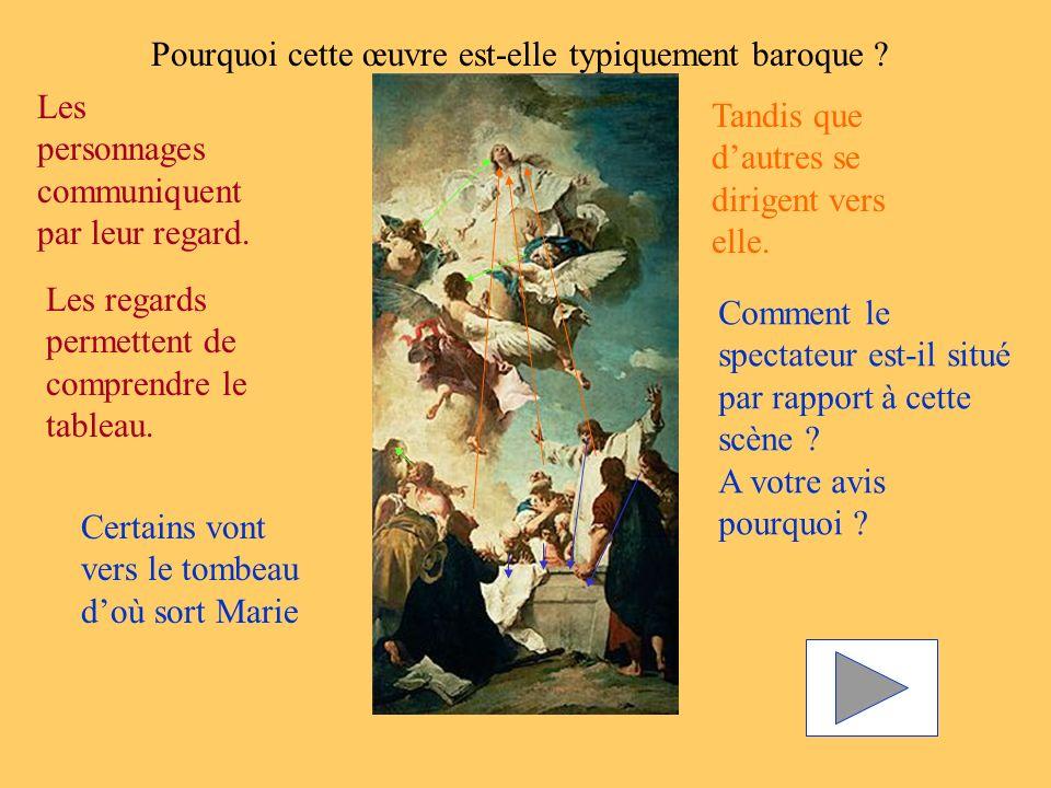 Pourquoi cette œuvre est-elle typiquement baroque ? Les personnages communiquent par leur regard. Tandis que dautres se dirigent vers elle. Les regard