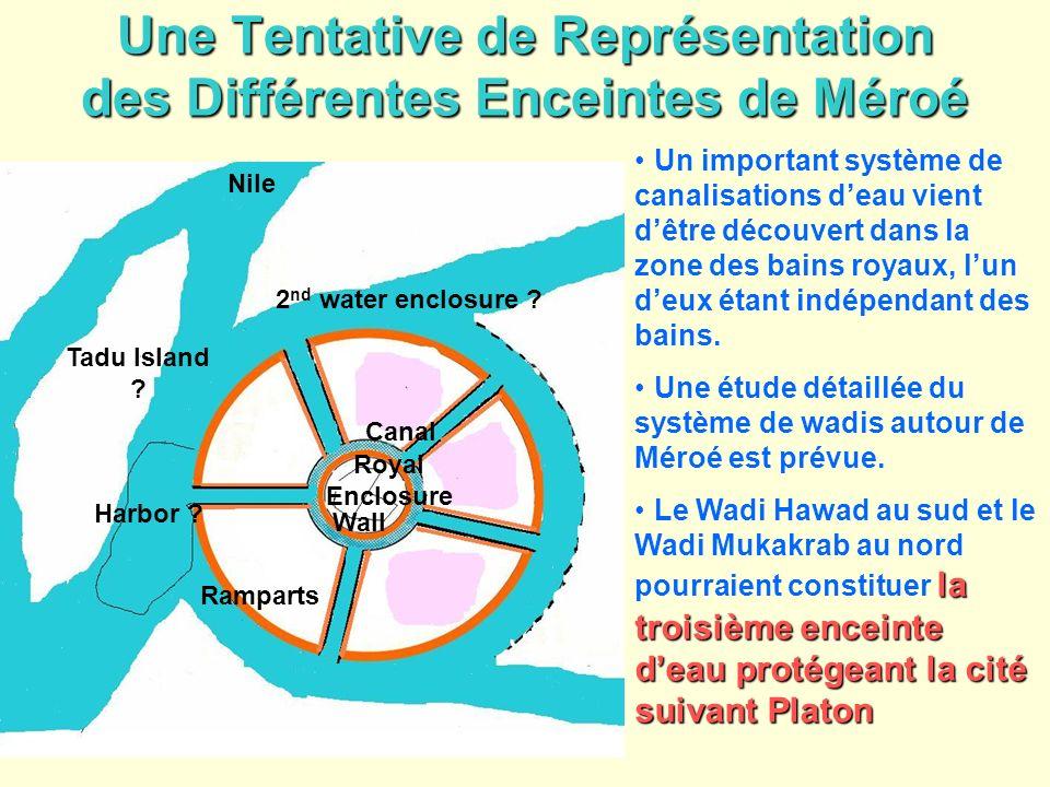 Une Tentative de Représentation des Différentes Enceintes de Méroé Un important système de canalisations deau vient dêtre découvert dans la zone des b
