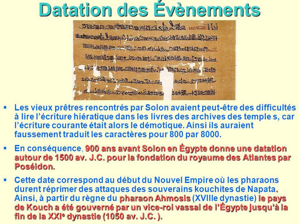Datation des Évènements Les vieux prêtres rencontrés par Solon avaient peut-être des difficultés à lire lécriture hiératique dans les livres des archi