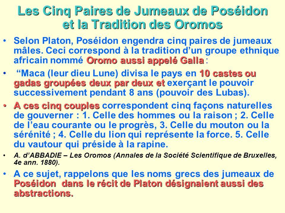 Les Cinq Paires de Jumeaux de Poséidon et la Tradition des Oromos Oromo aussi appelé GallaSelon Platon, Poséidon engendra cinq paires de jumeaux mâles