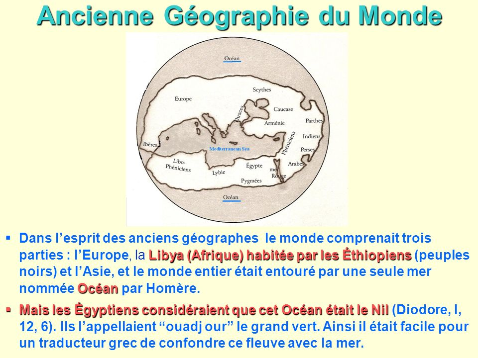 Ancienne Géographie du Monde Libya (Afrique) habitée par les Éthiopiens Océan Dans lesprit des anciens géographes le monde comprenait trois parties :
