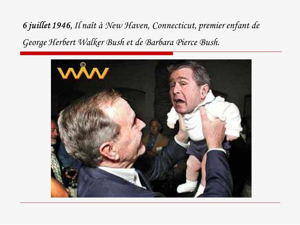 6 juillet 1946, Il naît à New Haven, Connecticut, premier enfant de George Herbert Walker Bush et de Barbara Pierce Bush.