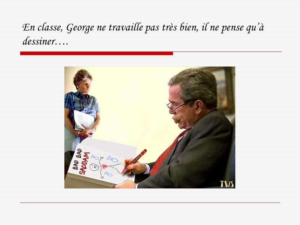 En classe, George ne travaille pas très bien, il ne pense quà dessiner….