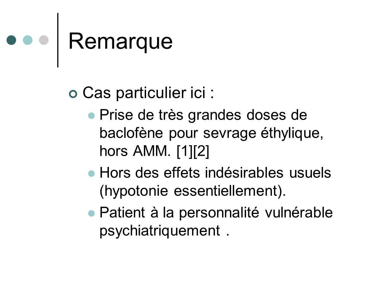 Remarque Cas particulier ici : Prise de très grandes doses de baclofène pour sevrage éthylique, hors AMM. [1][2] Hors des effets indésirables usuels (