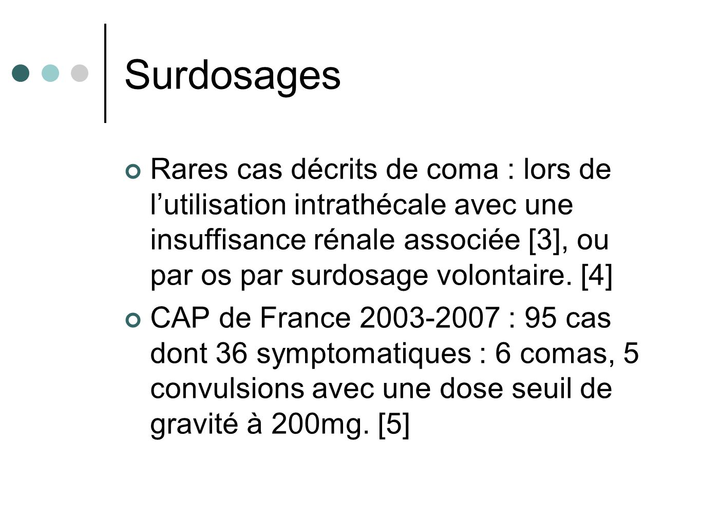 Surdosages Rares cas décrits de coma : lors de lutilisation intrathécale avec une insuffisance rénale associée [3], ou par os par surdosage volontaire.