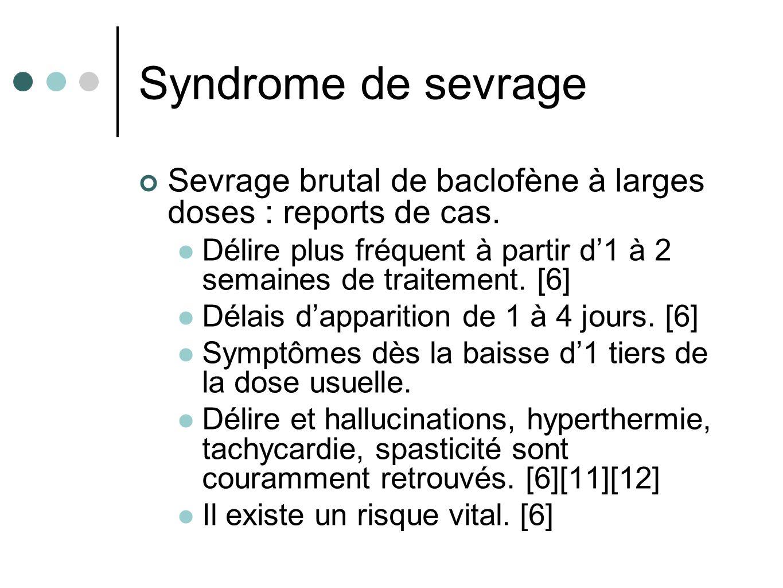 Syndrome de sevrage Sevrage brutal de baclofène à larges doses : reports de cas. Délire plus fréquent à partir d1 à 2 semaines de traitement. [6] Déla