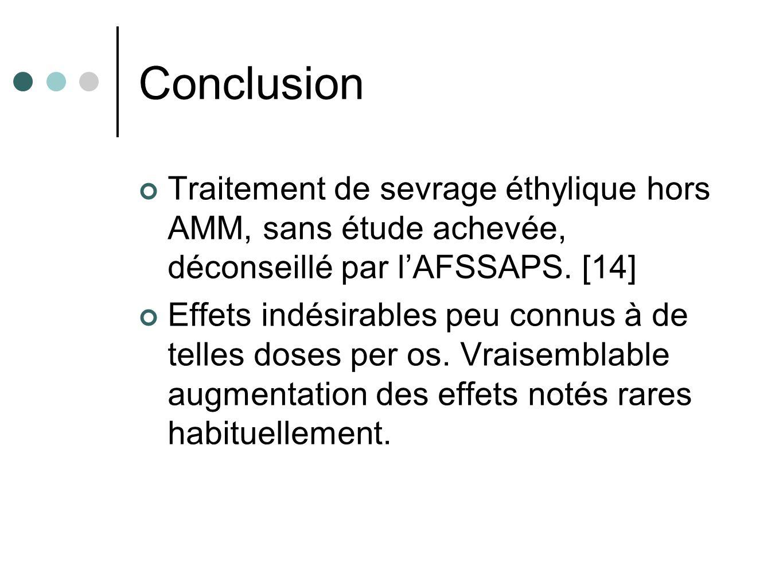 Conclusion Traitement de sevrage éthylique hors AMM, sans étude achevée, déconseillé par lAFSSAPS. [14] Effets indésirables peu connus à de telles dos