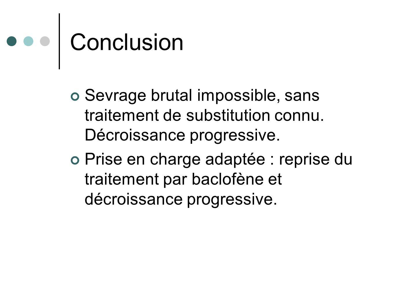 Conclusion Sevrage brutal impossible, sans traitement de substitution connu. Décroissance progressive. Prise en charge adaptée : reprise du traitement