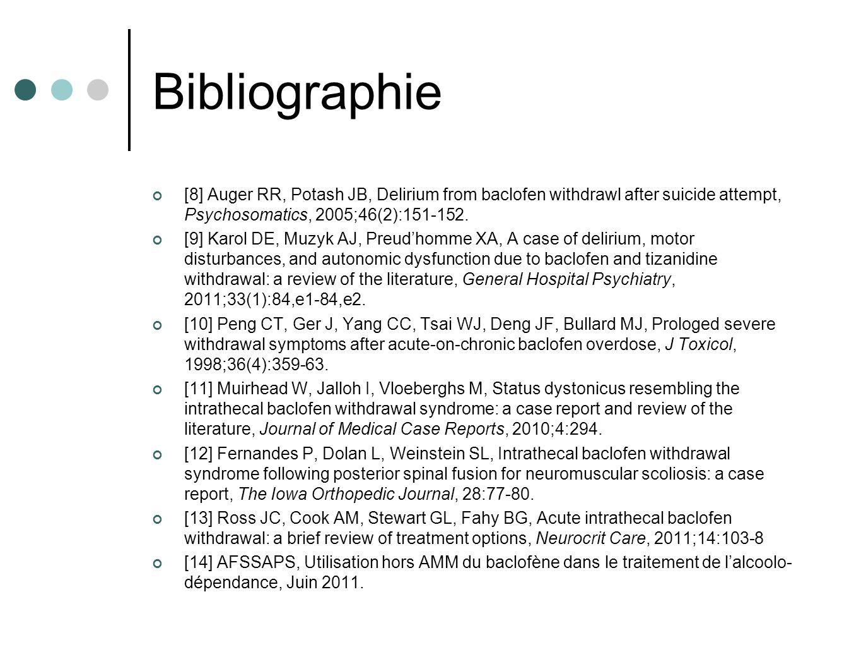 Bibliographie [8] Auger RR, Potash JB, Delirium from baclofen withdrawl after suicide attempt, Psychosomatics, 2005;46(2):151-152. [9] Karol DE, Muzyk