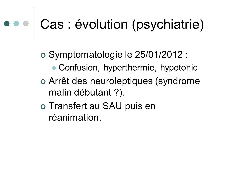 Cas : évolution (psychiatrie) Symptomatologie le 25/01/2012 : Confusion, hyperthermie, hypotonie Arrêt des neuroleptiques (syndrome malin débutant ?).