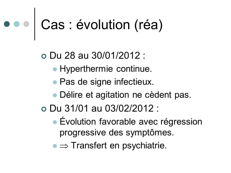 Cas : évolution (réa) Du 28 au 30/01/2012 : Hyperthermie continue. Pas de signe infectieux. Délire et agitation ne cèdent pas. Du 31/01 au 03/02/2012