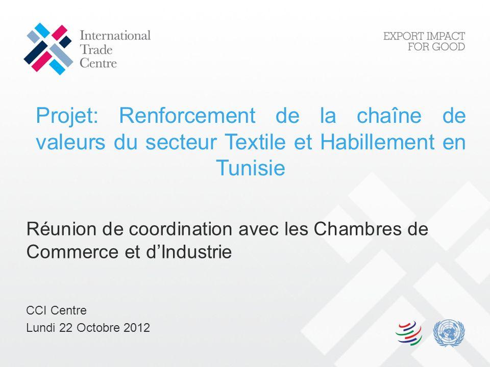 Projet: Renforcement de la chaîne de valeurs du secteur Textile et Habillement en Tunisie Réunion de coordination avec les Chambres de Commerce et dIn