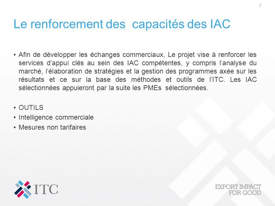 Le renforcement des capacités des IAC Afin de développer les échanges commerciaux, Le projet vise à renforcer les services dappui clés au sein des IAC