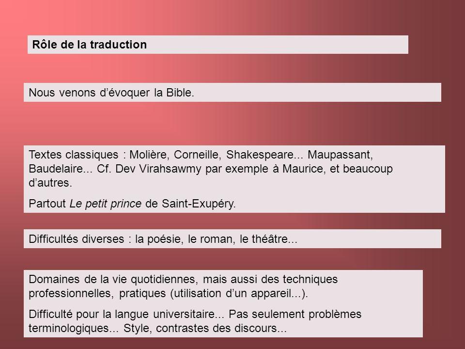 Rôle de la traduction Nous venons dévoquer la Bible. Textes classiques : Molière, Corneille, Shakespeare... Maupassant, Baudelaire... Cf. Dev Virahsaw