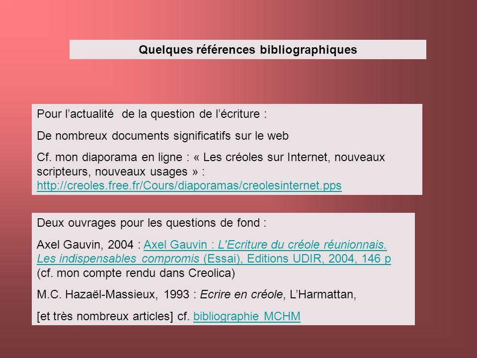 Quelques références bibliographiques Pour lactualité de la question de lécriture : De nombreux documents significatifs sur le web Cf. mon diaporama en