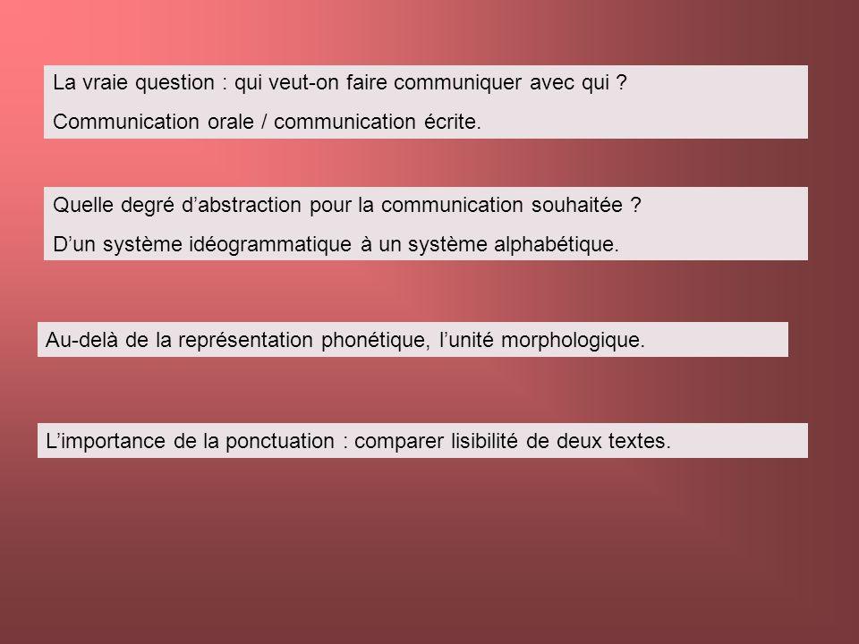 La vraie question : qui veut-on faire communiquer avec qui ? Communication orale / communication écrite. Quelle degré dabstraction pour la communicati