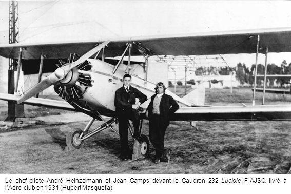 Le chef-pilote André Heinzelmann et Jean Camps devant le Caudron 232 Luciole F-AJSQ livré à lAéro-club en 1931 (Hubert Masquefa)