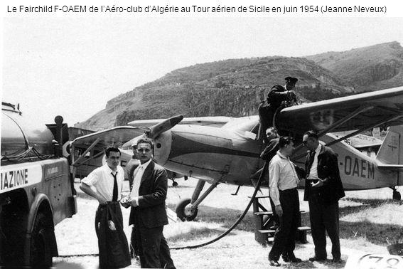 Le Fairchild F-OAEM de lAéro-club dAlgérie au Tour aérien de Sicile en juin 1954 (Jeanne Neveux)