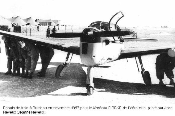 Ennuis de train à Burdeau en novembre 1957 pour le Norécrin F-BBKP de lAéro-club, piloté par Jean Neveux (Jeanne Neveux)