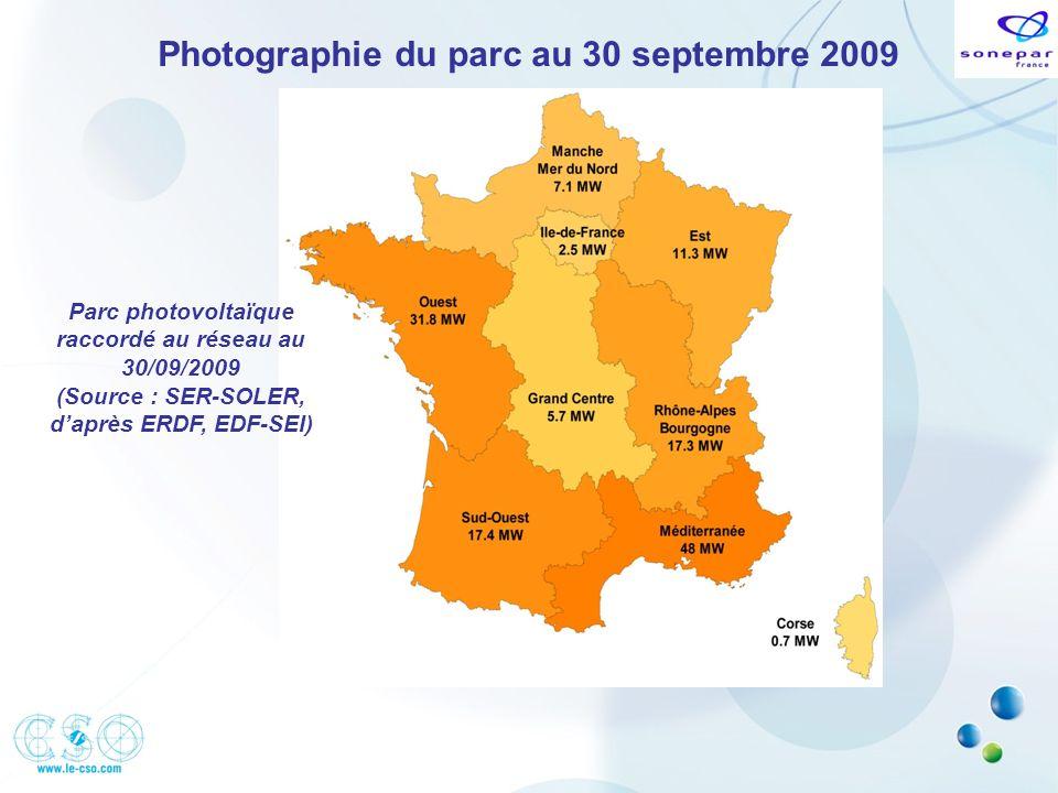Photographie du parc au 30 septembre 2009 Parc photovoltaïque raccordé au réseau au 30/09/2009 (Source : SER-SOLER, daprès ERDF, EDF-SEI)