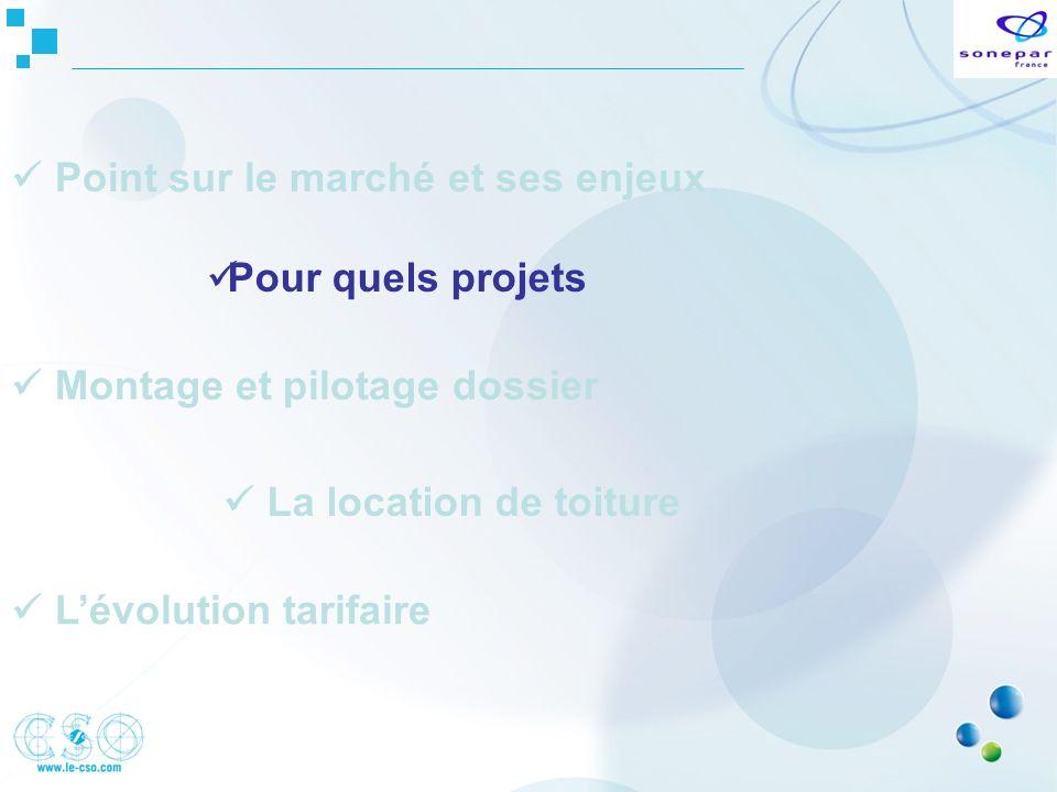 Pour quels projets Montage et pilotage dossier Lévolution tarifaire La location de toiture Point sur le marché et ses enjeux
