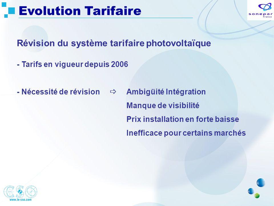 Evolution Tarifaire Révision du système tarifaire photovoltaïque - Tarifs en vigueur depuis 2006 - Nécessité de révision Ambigüité Intégration Manque