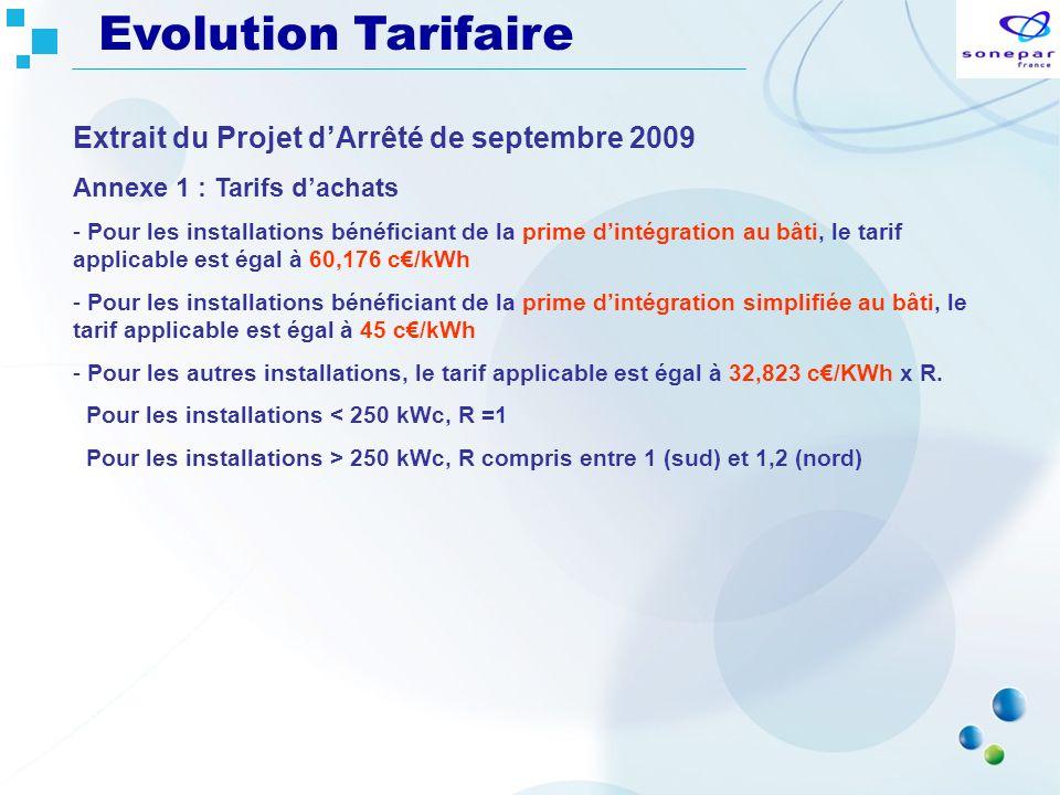Extrait du Projet dArrêté de septembre 2009 Annexe 1 : Tarifs dachats - Pour les installations bénéficiant de la prime dintégration au bâti, le tarif
