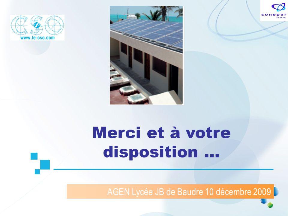 AGEN Lycée JB de Baudre 10 décembre 2009 Merci et à votre disposition …