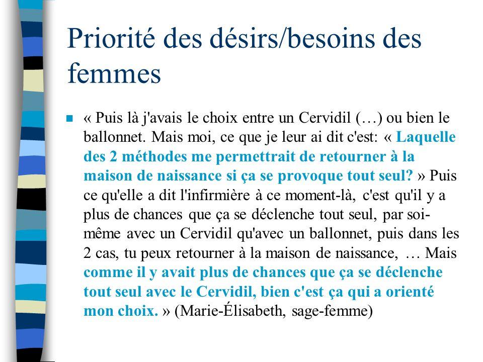 Priorité des désirs/besoins des femmes n « Puis là j'avais le choix entre un Cervidil (…) ou bien le ballonnet. Mais moi, ce que je leur ai dit c'est: