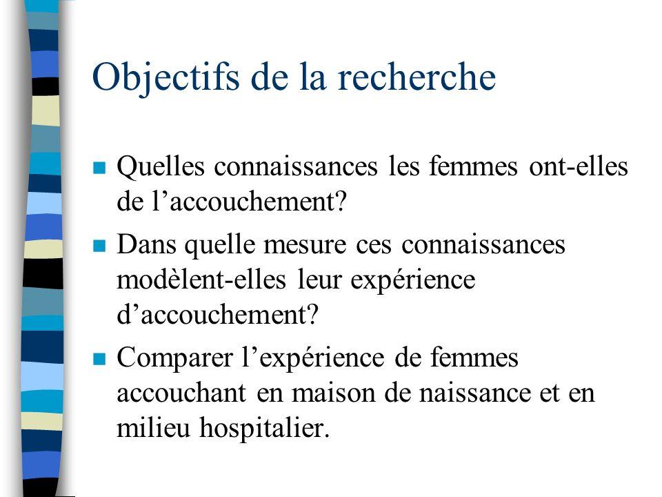 Méthodologie n 2 entrevues en profondeur (avant et après laccouchement) avec 26 femmes de Montréal.