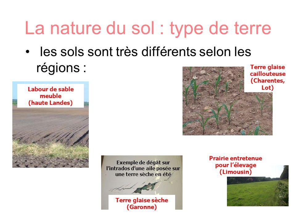 les sols sont très différents selon les régions : La nature du sol : type de terre Labour de sable meuble (haute Landes) Prairie entretenue pour lélev