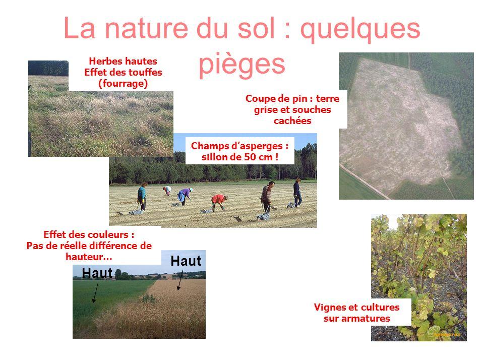 La nature du sol : quelques pièges Champs dasperges : sillon de 50 cm ! Vignes et cultures sur armatures Effet des couleurs : Pas de réelle différence