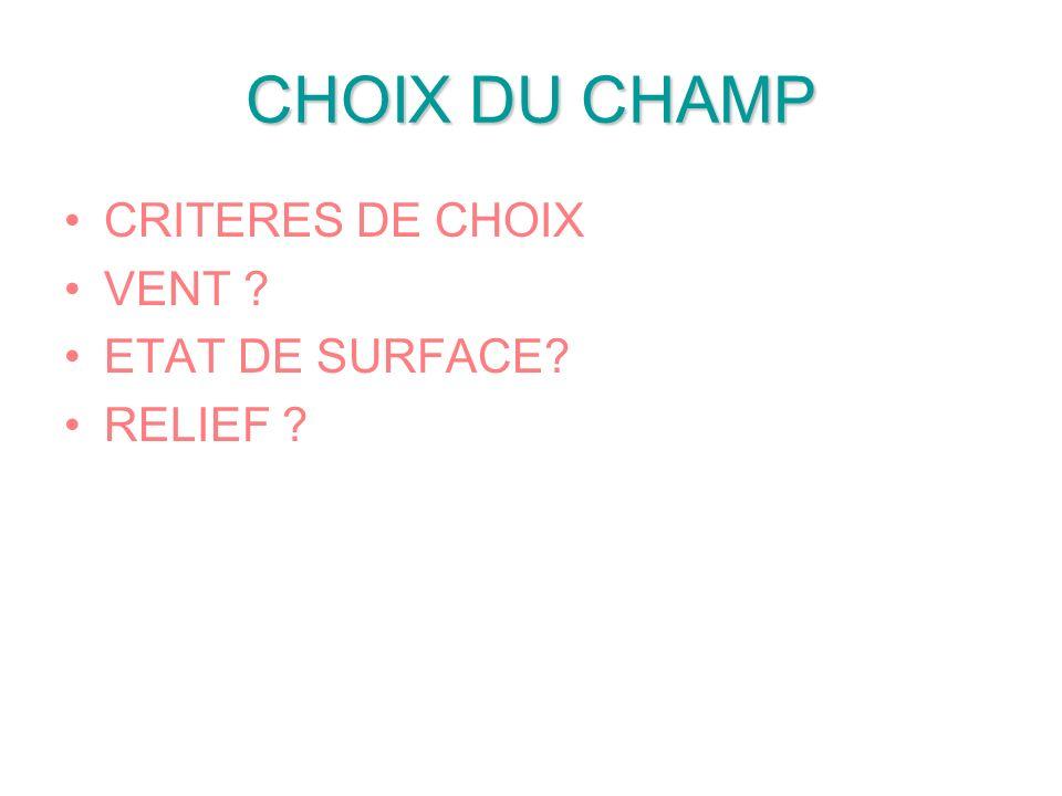 CHOIX DU CHAMP CRITERES DE CHOIX VENT ? ETAT DE SURFACE? RELIEF ?