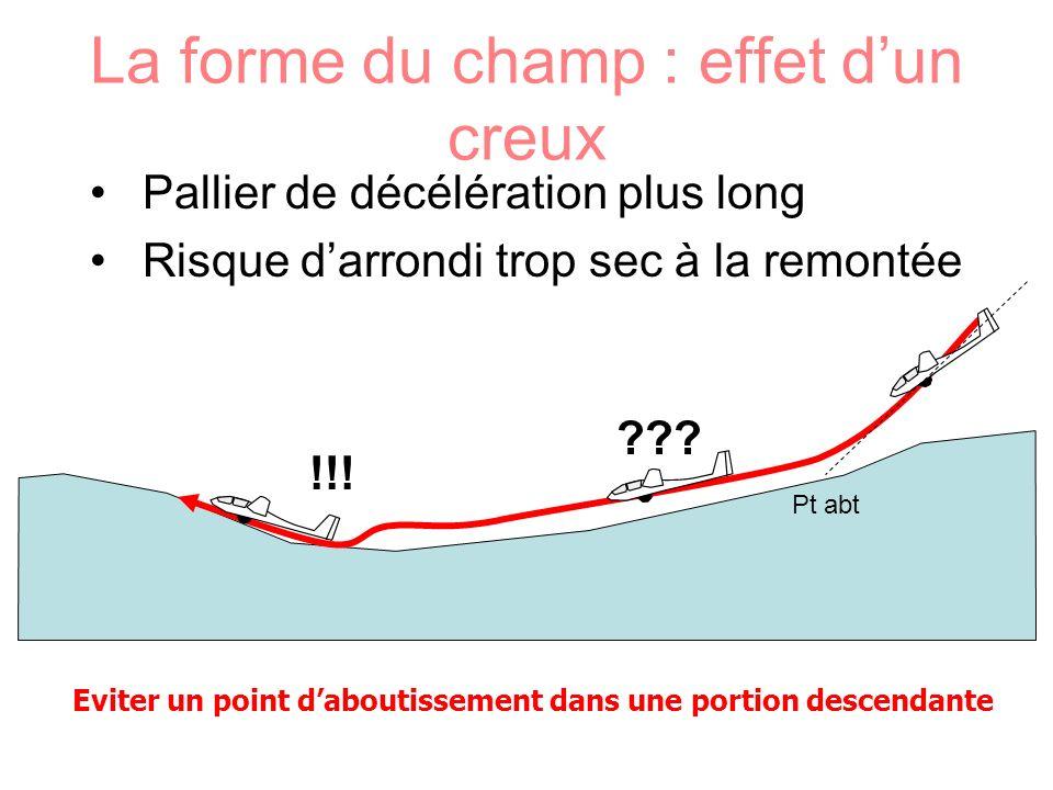 La forme du champ : effet dun creux Pallier de décélération plus long Risque darrondi trop sec à la remontée ??? !!! Eviter un point daboutissement da