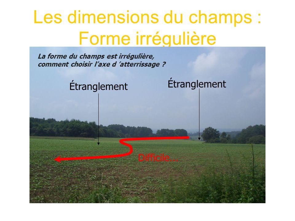 Les dimensions du champs : Forme irrégulière Étranglement La forme du champs est irrégulière, comment choisir laxe d atterrissage ? Difficile...