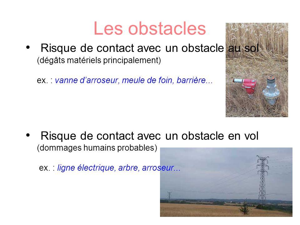 Les obstacles Risque de contact avec un obstacle au sol (dégâts matériels principalement) ex. : vanne darroseur, meule de foin, barrière... Risque de