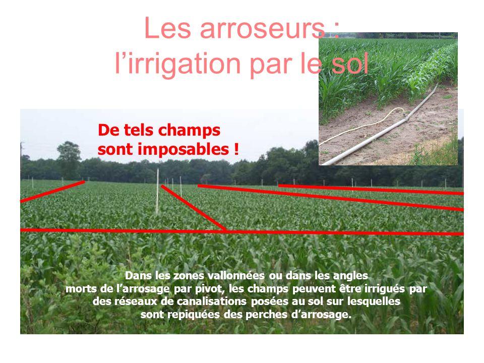 Les arroseurs : lirrigation par le sol Dans les zones vallonnées ou dans les angles morts de larrosage par pivot, les champs peuvent être irrigués par