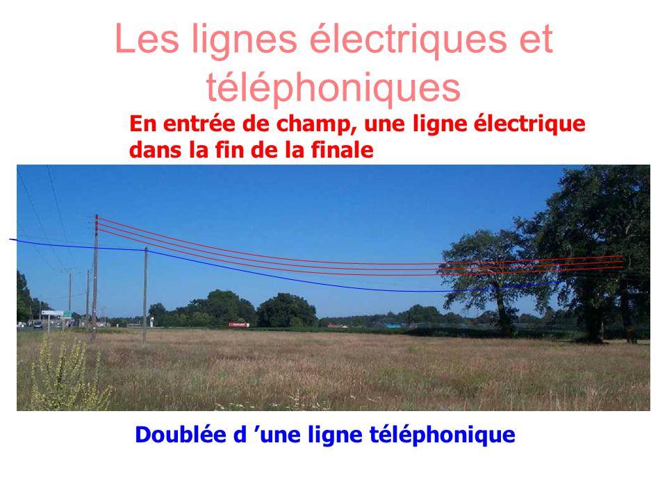 Les lignes électriques et téléphoniques En entrée de champ, une ligne électrique dans la fin de la finale Doublée d une ligne téléphonique