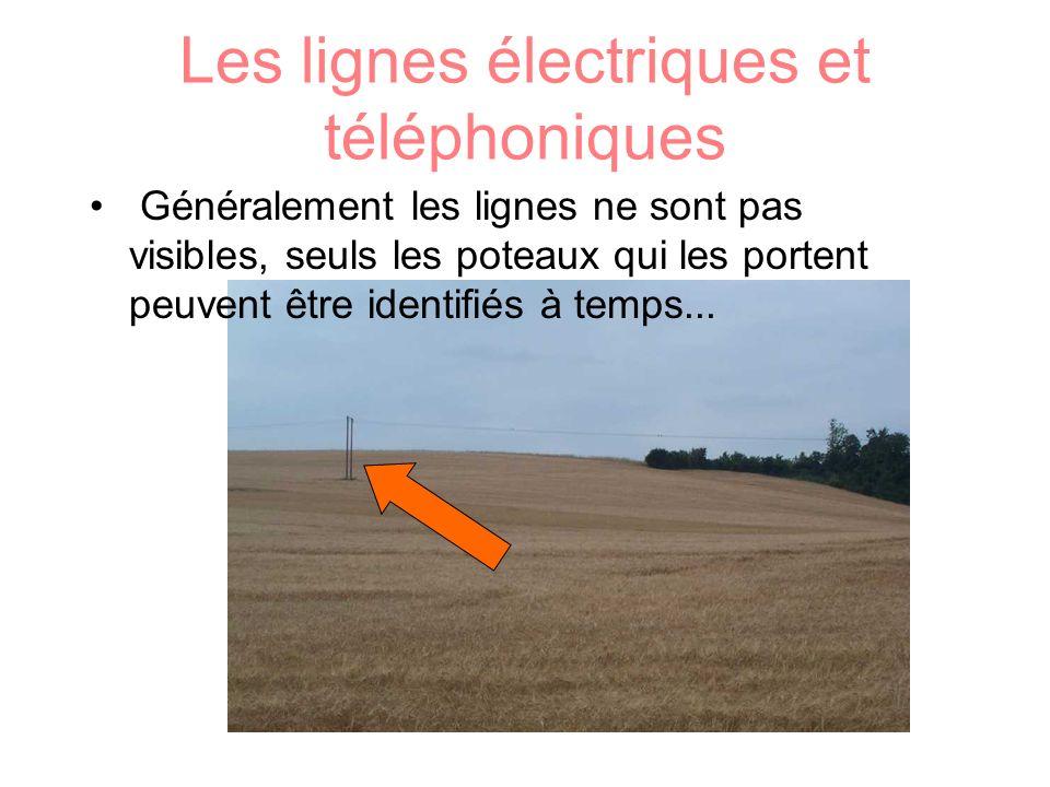 Les lignes électriques et téléphoniques Généralement les lignes ne sont pas visibles, seuls les poteaux qui les portent peuvent être identifiés à temp