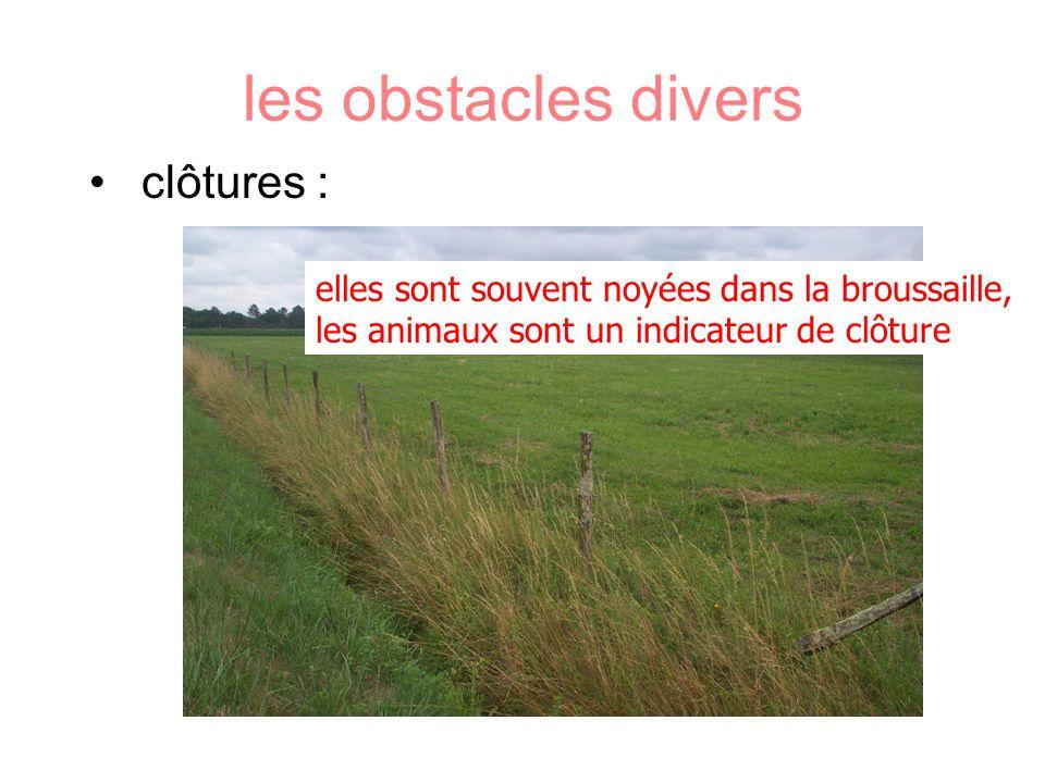 les obstacles divers clôtures : elles sont souvent noyées dans la broussaille, les animaux sont un indicateur de clôture