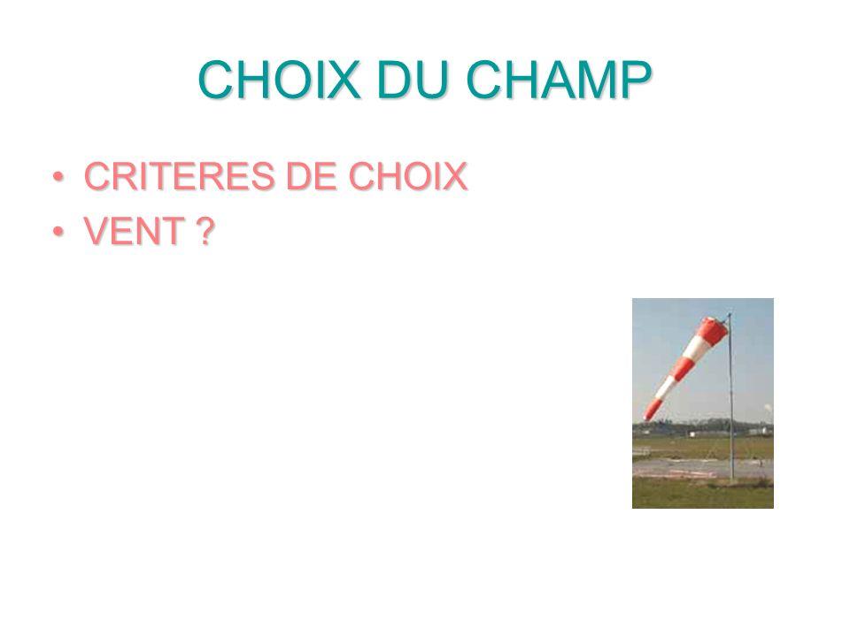 CHOIX DU CHAMP CRITERES DE CHOIXCRITERES DE CHOIX VENT ?VENT ?