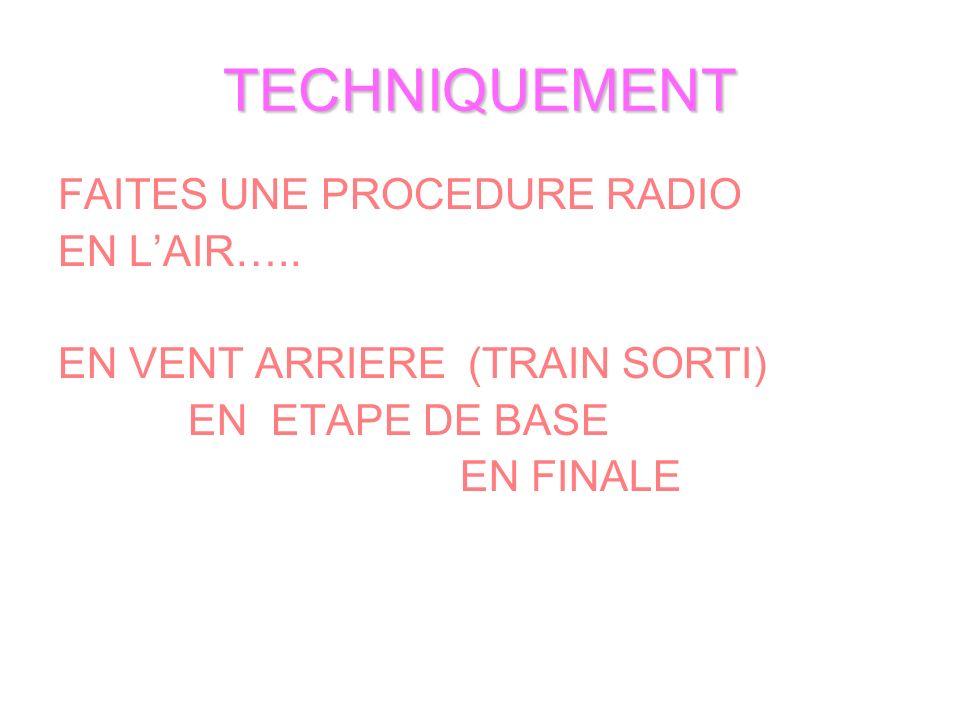 TECHNIQUEMENT FAITES UNE PROCEDURE RADIO EN LAIR….. EN VENT ARRIERE (TRAIN SORTI) EN ETAPE DE BASE EN FINALE