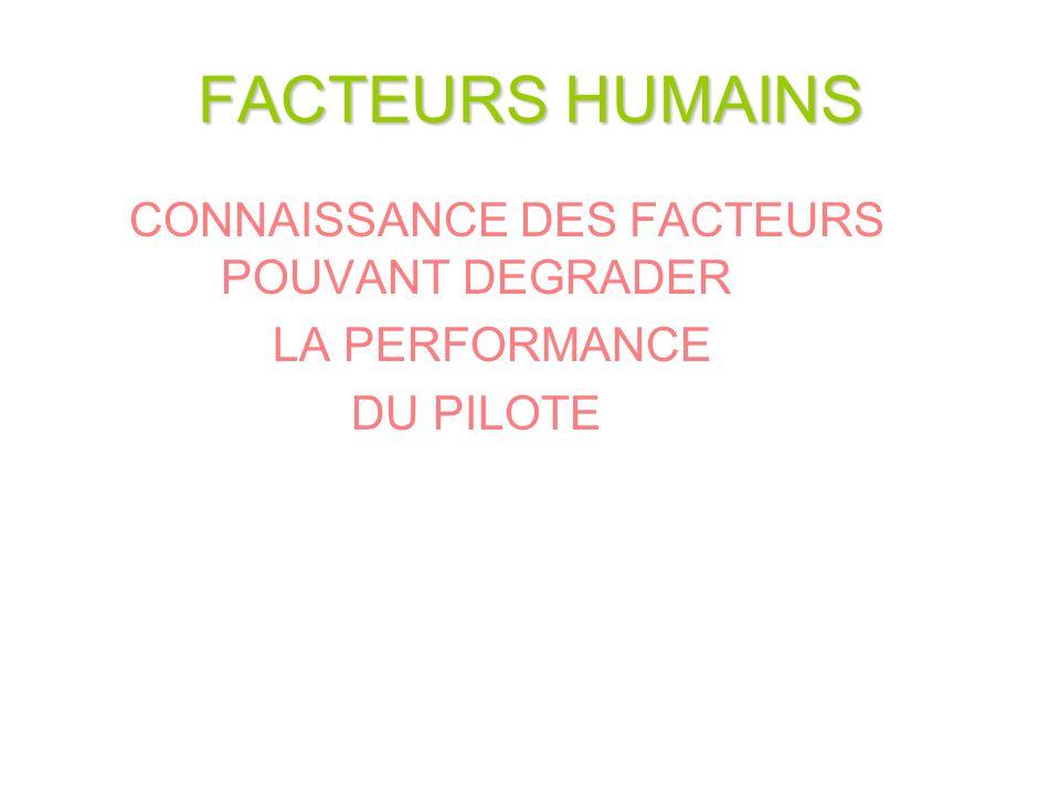 FACTEURS HUMAINS CONNAISSANCE DES FACTEURS POUVANT DEGRADER LA PERFORMANCE DU PILOTE